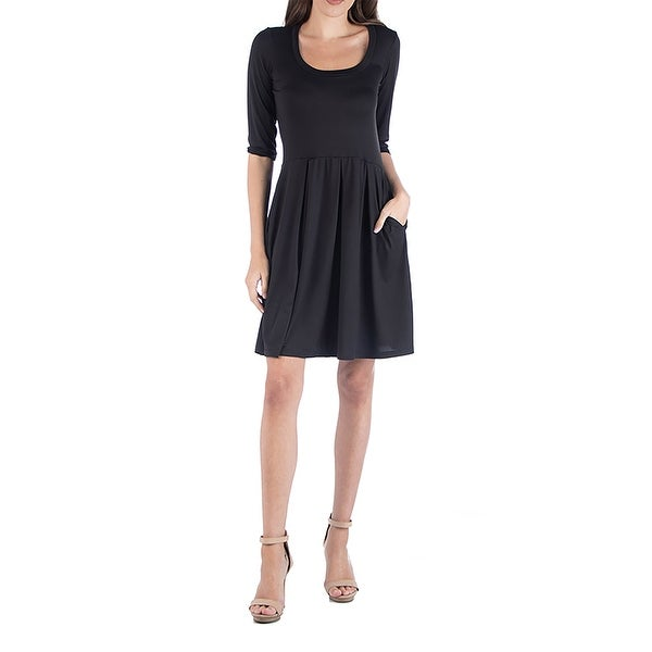 24seven Comfort Apparel Three Quarter Sleeve Fit and Flare Mini Dress. Opens flyout.