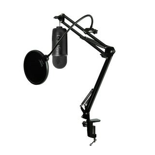 Blue Microphones Blackout Yeti Mic w/ Knox Mic Desktop Boom Arm and Pop Filter