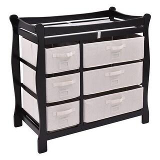 Costway Black Sleigh Style Baby Changing Table Diaper 6 Basket Drawer Storage Nursery
