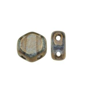 Czech Glass Honeycomb Beads, 2-Hole Hexagon 6mm, 30 Pieces, Crystal Bronze
