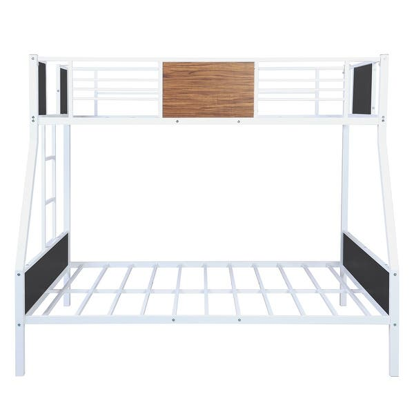 Twin Over Full Modern Style Steel Frame Bunk Bed With Safety Rail Overstock 32040318 White