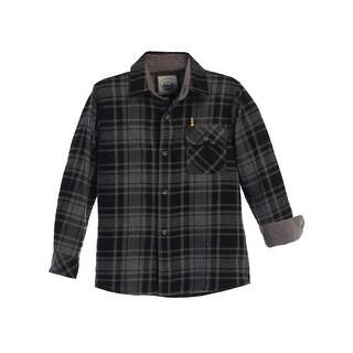 Gioberti Little Boys Charcoal Black Corduroy Contrast Flannel Shirt 4-7