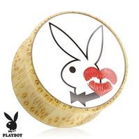 Bunny with Kiss Mark Print Wood Saddle Plug (Sold Individually)