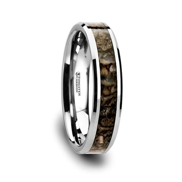 THORSTEN - ORDOVICIAN Dinosaur Bone Inlaid Tungsten Carbide Beveled Edged Ring - 4mm