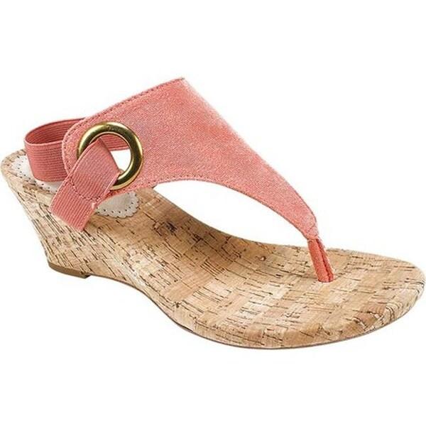 Shop White Mountain Women S Aida Thong Wedge Sandal Coral