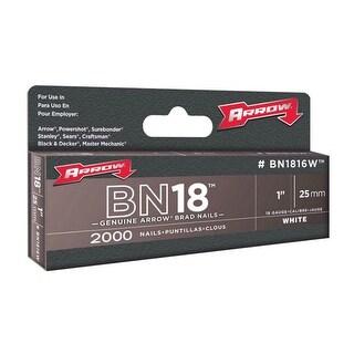 "Arrow BN1816WCS White Brad Nails, 1"", Box Of 2000"