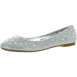 Anna Womens Nine14 Sparkle Raindrop Rhinestone Glitter Mesh Loafer Ballet Flat Dress Shoes