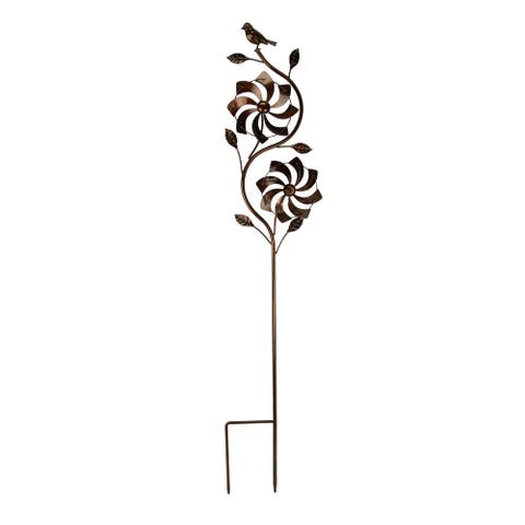 Bronze Finish Metal Art Flower Double Spinner Wind Sculpture Garden Stake, Pinwheel - 48.25 X 9 X 3 inches