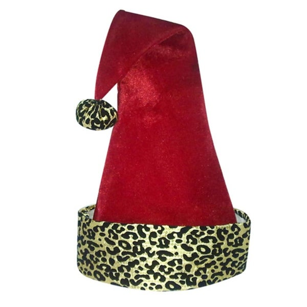 """22"""" Diva Safari Adult Red Velveteen with Gold Print Santa Hat with Pompom"""