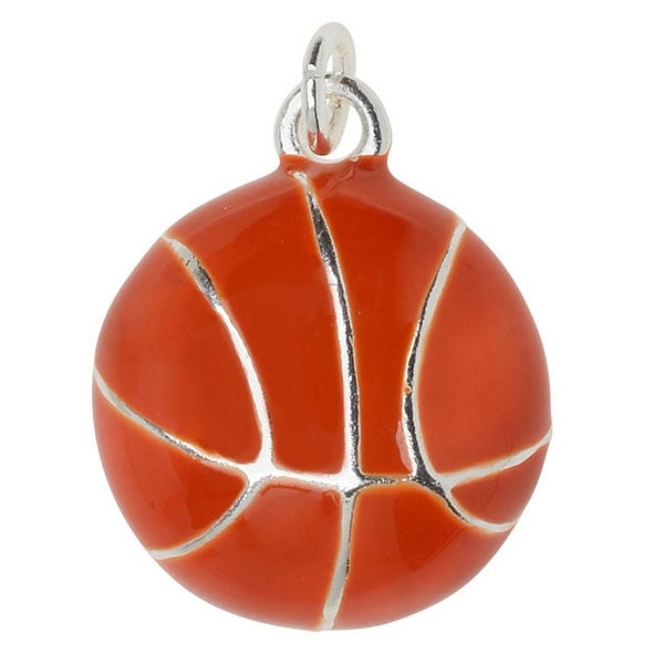 Silver Plated and Enameled Charm, Basketball 17x14x5mm, 1 Piece, Orange