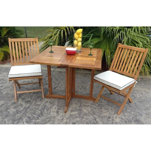 Chic Teak Hatteras Square Teak Wood Outdoor Folding Patio Table, 35 Inch