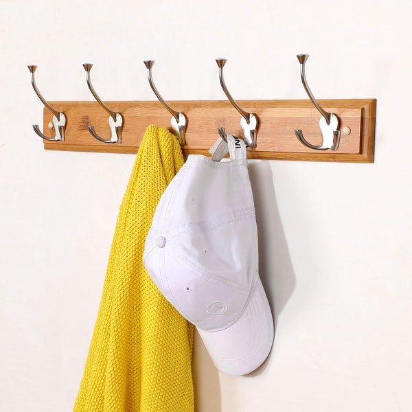 Bamboo Base 23.6 Inch Wall Hook Coat Rack Holder Hanger with 5 Zinc Alloy Hooks - Wood