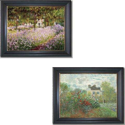 Artist's Garden at Giverny & Argenteuil by Monet 2-pc Black & Gold Framed Canvas Art Set (16 in x 20 in Each Framed Size)