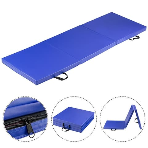 Costway Tri-Fold Gymnastics Mat 6'x2' Folding Fitness Carrying Handles