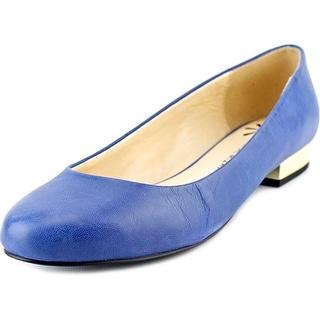 Isaac Mizrahi Janna Women W Round Toe Leather Blue Flats