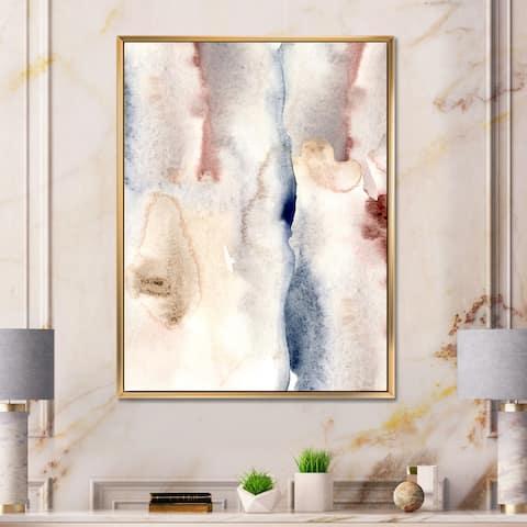 Designart 'Pastel Abstract With Dark Blue Pink & Gray Spots' Modern Framed Canvas Wall Art Print