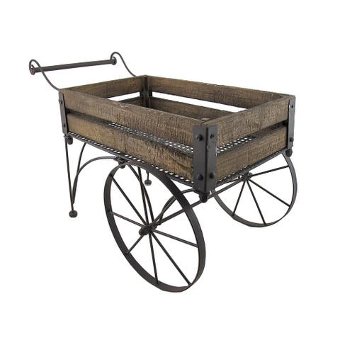 Rustic Wood And Metal Wagon Cart Style Plant Stand 24 Inches Long - 15.5 X 24.5 X 12.5 inches