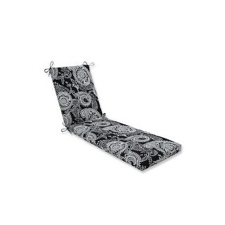 "80"" Crisp Paisley Swirl in Soft White and Ebony Black Chaise Lounge Cushion"