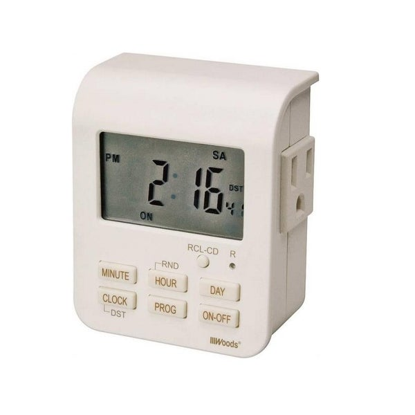 Woods 50009AC Heavy Duty Digital Timer 7 Day 2 Outlets