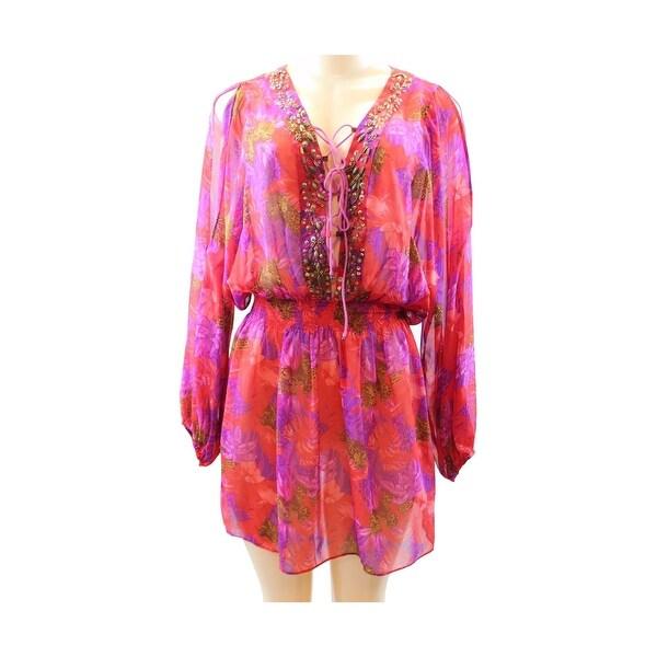 10a1c2b38ce Moda International Victoria  x27 s Secret Beach Cover-Up Dress Red Purple