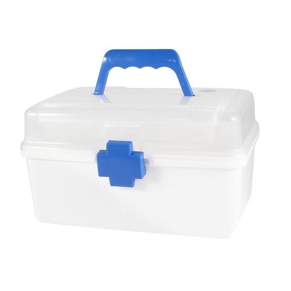Blue Button Plastic First Aid Kits Health Care Medicine Holder Box Storage  Case
