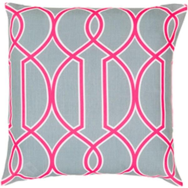 "22"" Heather Gray and Hot Pink Trellis Decorative Throw Pillow"