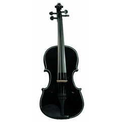 Merano Full Size Black Violin with Case