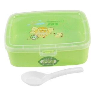 Unique Bargains Plastic Lid Green Rectangle Lunchbox Pail Food Container w Spoon