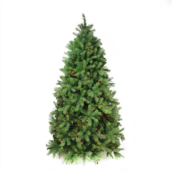 6.5' Pre-Lit Noble Fir Full Artificial Christmas Tree - Multi-Color Lights - green