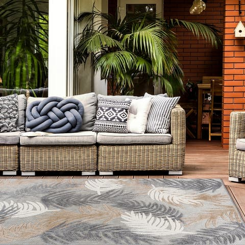 Tropical Floral Modern Indoor/Outdoor Area Rug