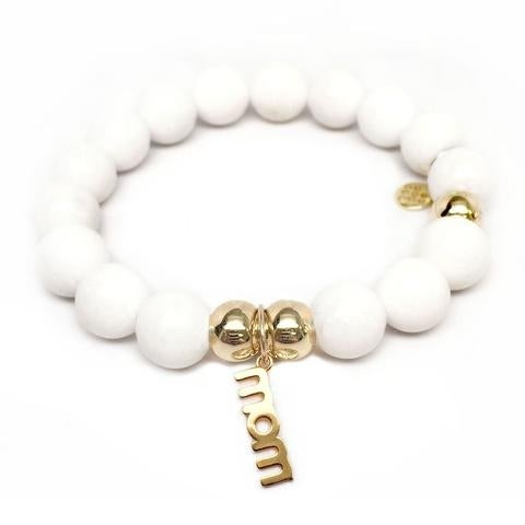 Julieta Jewelry Mom Charm White Jade Bracelet