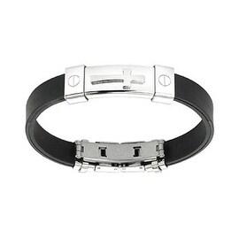Stainless Steel Cross ID Plate Rubber Bracelet (10 mm) - 7.25 in