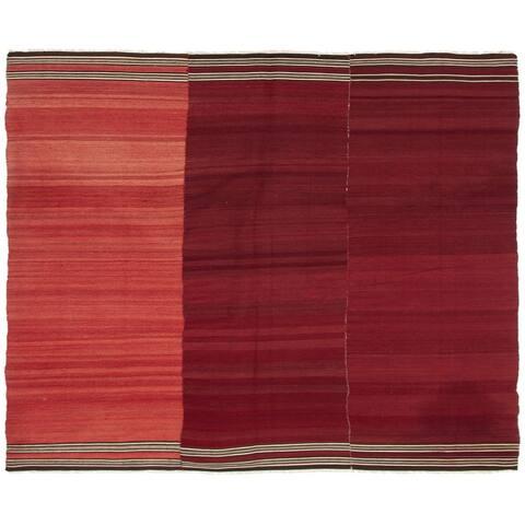 ECARPETGALLERY Flat-weave Bohemian Dark Red Wool Kilim - 6'0 x 8'0
