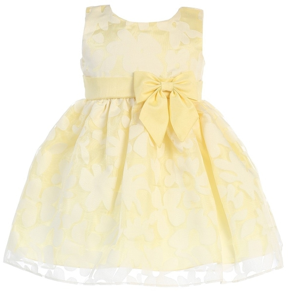 08f5c11958 Girls Yellow Burnout Floral Organza Easter Dress