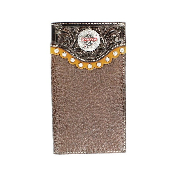 PBR Western Wallet Mens Rawhide Leather Rodeo Mahogany - One size