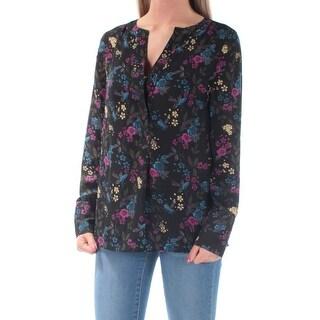 KENSIE $69 Womens New 1624 Black Floral Jewel Neck Long Sleeve Casual Top XS B+B