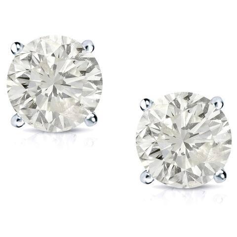 Auriya Platinum 1/2ctw Round Diamond Stud Earrings Clarity-enhanced