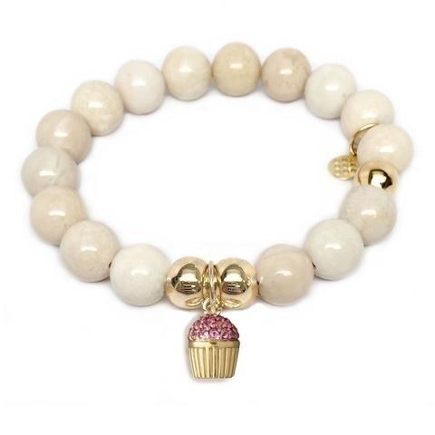Julieta Jewelry Cupcake Charm Ivory Jade Bracelet