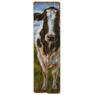 Set of 2 Vertical Black and White Rectangular Cow Wall Decor 47