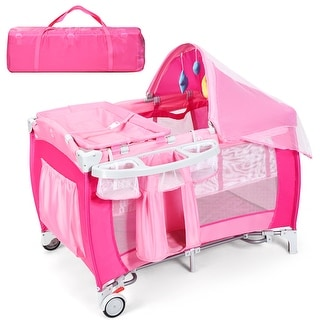 Link to Costway Foldable Baby Crib Playpen Travel Infant Bassinet Bed Mosquito Similar Items in Kids' & Toddler Furniture