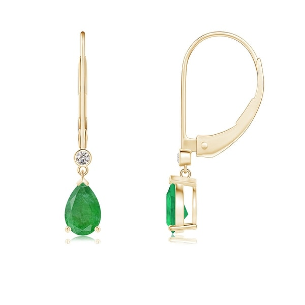Angara 6x4mm Leverback Pear Emerald Drop Earrings with Diamond in 14K Yellow Gold - Green