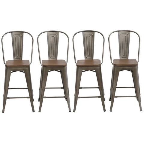 Distressed Rustic Wood 24-inch High-back Bar Stools (Set of 2 OR 4)