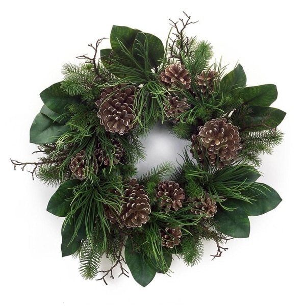 Pack of 2 Winter Garden Decorative Artificial Fir Greenery with Pinecone Wreath 30""