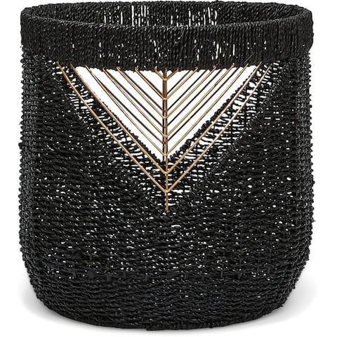 The Curated Nomad Lucky Black and Gold Seagrass Basket