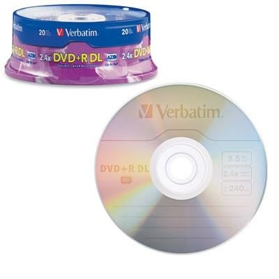 Verbatim 95310 Dvd+R Dl Azo 8.5Gb 8X-10X Branded Double Layer Recordable Disc