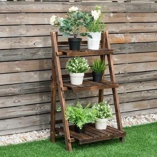 Costway 3 Tier Outdoor Wood Design Flower Pot Shelf Stand Folding Display Rack Garden - as pic