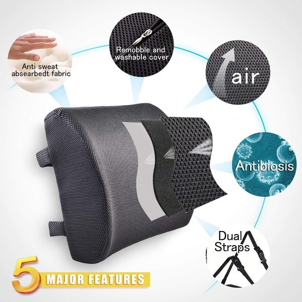 Lumbar Pillow Cushion for Car Office Home Mesh Breathable Gray Back Support