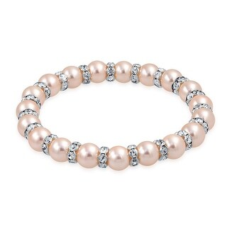 Bling Jewelry Imitation Pink Pearl Rondelle Stretch Bracelet Silver Plated