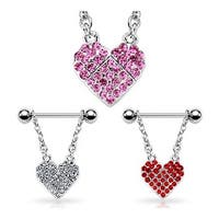 "Surgical Steel Nipple Ring with Pave Gemmed Heart - 14GA 3/4"" Long (Sold Individually)"