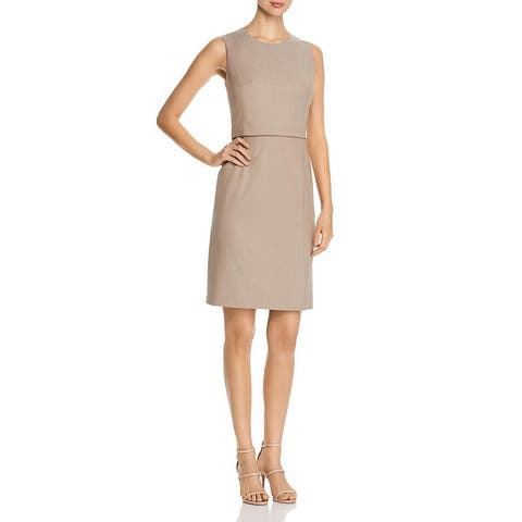 BOSS Hugo Boss Womens Wear to Work Dress Sleeveless Above Knee - Medium Beige